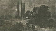 Artist's depiction of mid-morning conditions during the Dark Day of May 19, 1780 (from Devens, 1876).