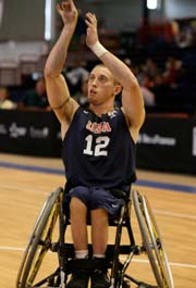 John Gilbert shoots at the under-23 International Wheelchair Basketball Federation championships in Paris.