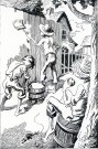 The original pen and ink drawing by Thomas Hart Benton from a series used to illustrate Mark Twain's Adventures of Tom Sawyer. The illustration refers to the famous scenes where Tom convinces other boys to whitewash the fence. The copyright is held by Limited Editions Club, Inc.