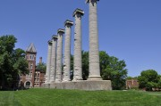 Today, construction works will begin cosmetic repairs to the bases of the Columns on the Francis Quadrangle at the University of Missouri.