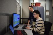 Jung Hyup Kim (rear), an assistant professor of Industrial and Manufacturing Systems Engineering at the University of Missouri, and his team of students — including Ph.D. student Wenbin Guo, recently traveled to the Mayo Clinic in Rochester, Minn., to study just how these kinds of brief interruptions affected nurses in their emergency department. Photo by Amy Parris.