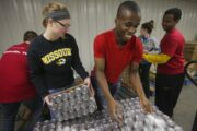 Students participate in a Mizzou Alternative Breaks trip that had them volunteering at Nashville charities.