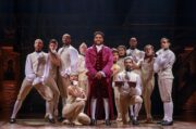 "Bryson Bruce, center, is pictured with cast members from a national tour of the hit Broadway show ""Hamilton: An American Musical"" where he plays the roles of Marquis de Lafayette and Thomas Jefferson.  Photo credit: Joan Marcus"